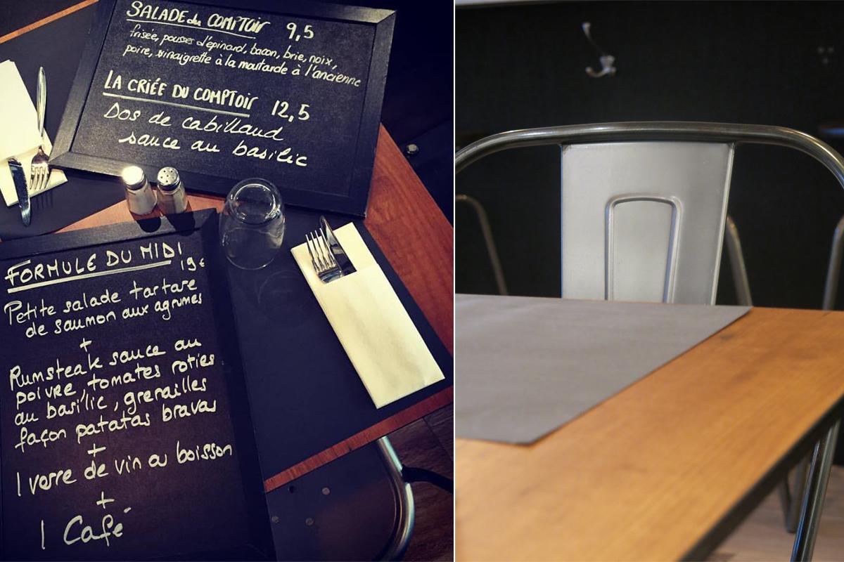 menu du comptoir